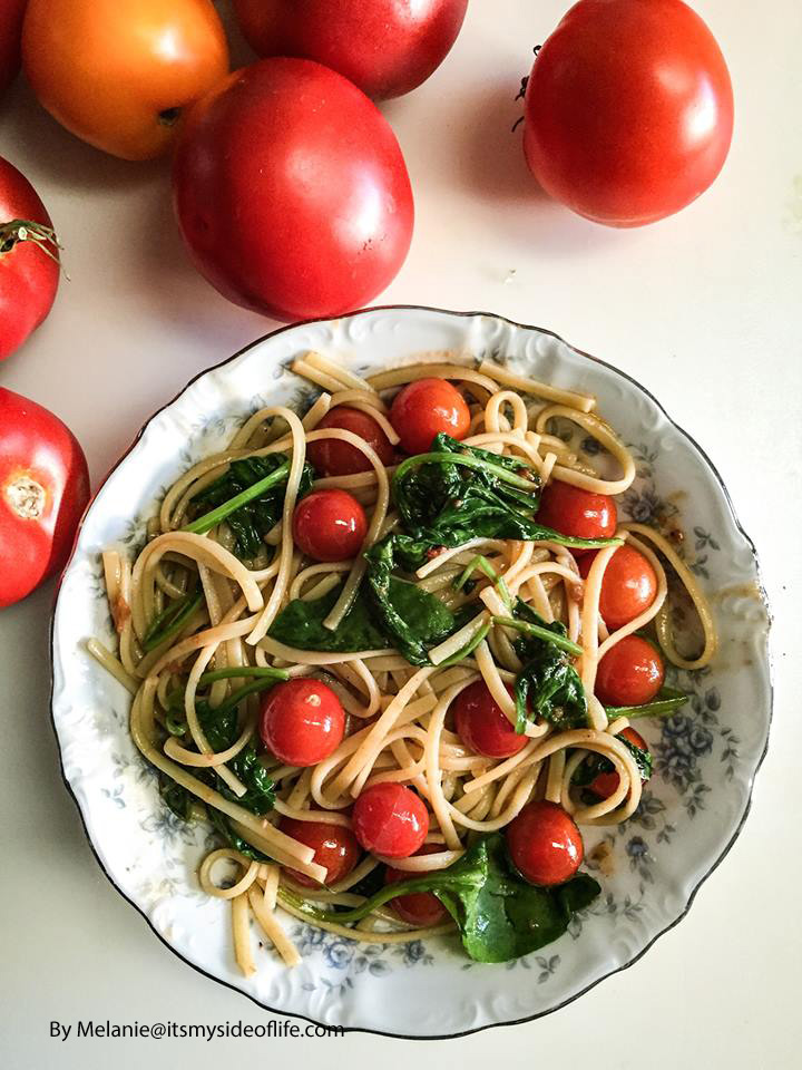 Linguine with Spinach & Cherry Tomatoes